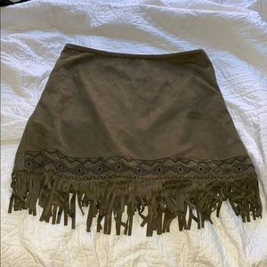 suede olive green skirt